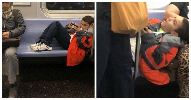 Мальчик разлегся на сиденьях в метро и не давал никому сесть. Мужчина принял меры воспитания