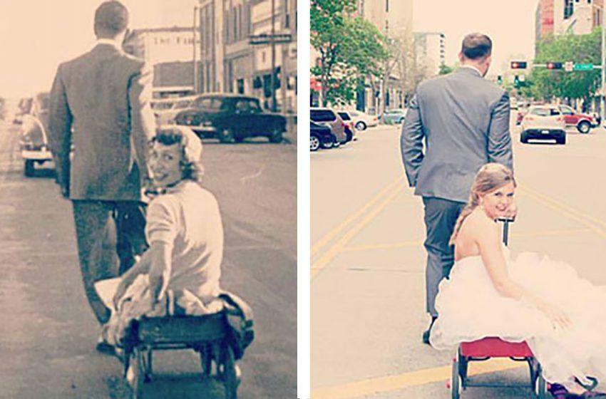 Люди решили воссоздать фото свадебные фото своих бабушек и дедушек