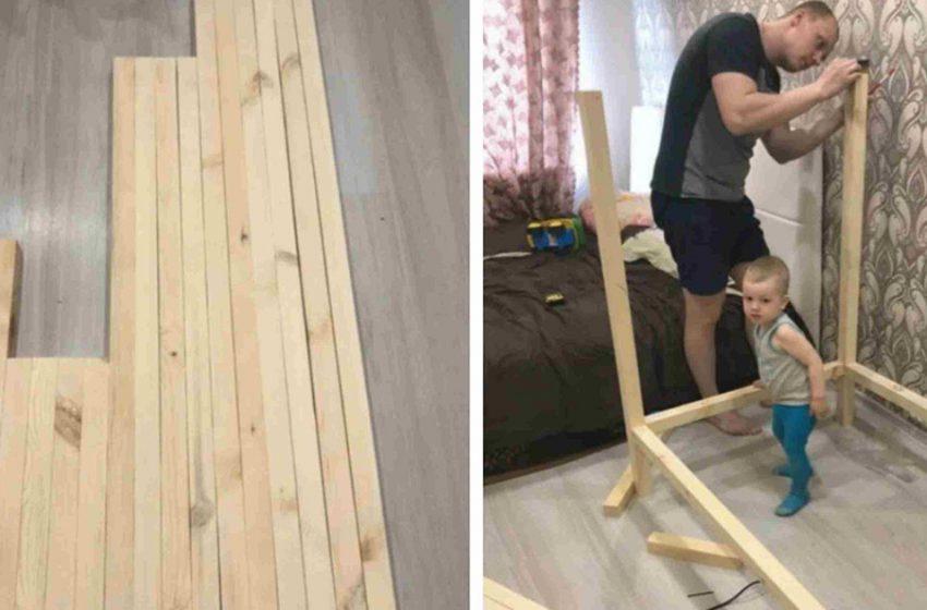 Папа собственными руками смастерил для сына уютную и стильную кроватку